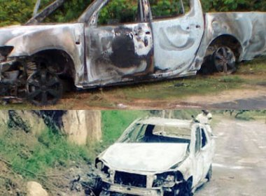 Jacobina: Bandidos roubam ouro, queimam 4 carros e matam vigilante durante assalto
