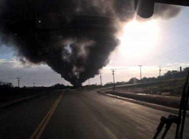 Incêndio em área de resíduos da Cetrel assusta moradores em Camaçari