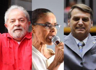 Datafolha: Lula lidera com 30%; Marina e Bolsonaro empatam em segundo