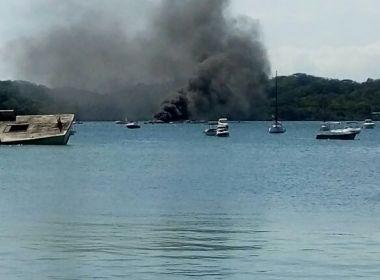 Dois tripulantes estavam a bordo de lancha que pegou fogo na Baía de Aratu